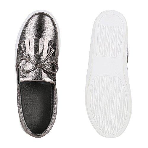 Stiefelparadies Damen Sneaker Slip Ons Metallic Slipper Flats Glitzer Schuhe Schleifen Fransen Pailletten Sneakers Kroko Lack Turnschuhe Flandell Grau Fransen