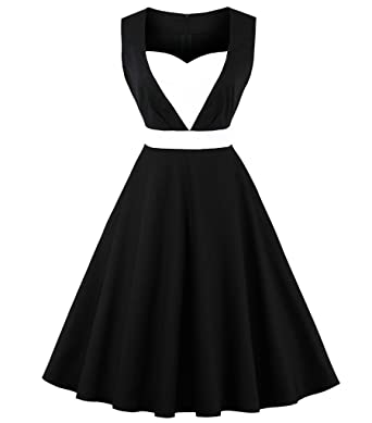 Aecibzo Womens Plus Size Vintage Dress 50s 60s Rockabilly Cocktail