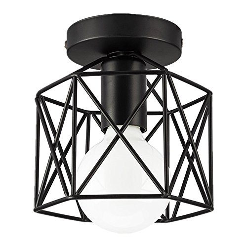 Licperron Industrial Ceiling Light, Edison Hanging Caged Pendant Light Fixture