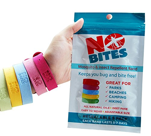 NoBite All Natural Mosquito Repellent Bracelets - 5 Pack - Deet Free - Long Lasting Protection