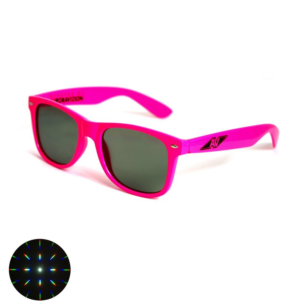 Emerald Tint Diffraction Glasses - Pink Frame Auroravizion