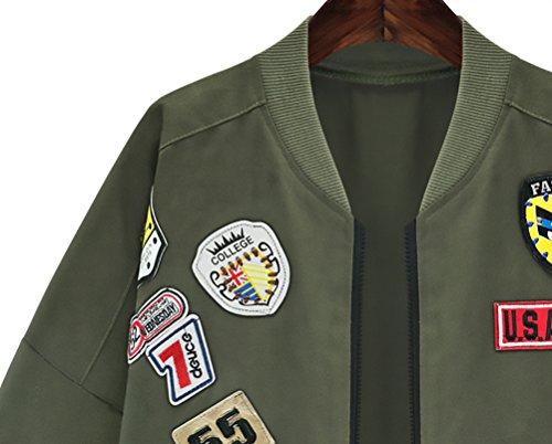 Tallas De Mujer Verde Larga Anchas Vintage De Abrigos Bomber Manga Invierno Grandes Coat Otoño Cremallera Outerwear Largas Jacket Elegantes Bolsillo Parkas Casual Béisbol Chaquetas Bordadas rS56qwr