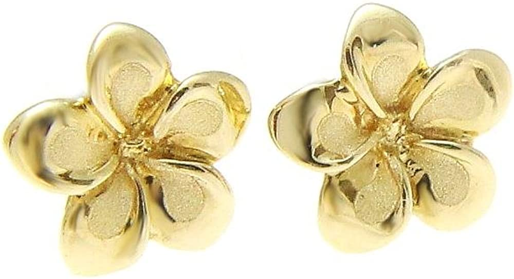 14k solid tricolor gold 13mm Hawaiian plumeria flower stud post earrings