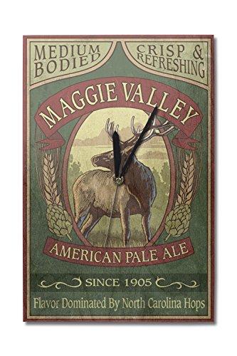 (Lantern Press Maggie Valley, North Carolina - Elk Pale Ale Vintage Sign (10x15 Wood Wall Clock, Decor Ready to Hang))