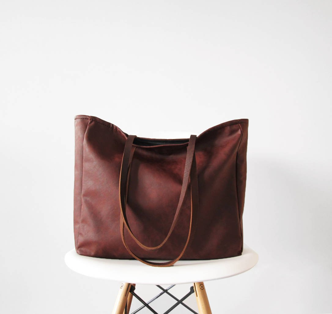 Large Vegan Leather Tote Bag, Slouchy Tote, Distressed, Casual Tote, Top Handle, Handbag, Back To School Tote by Amazon