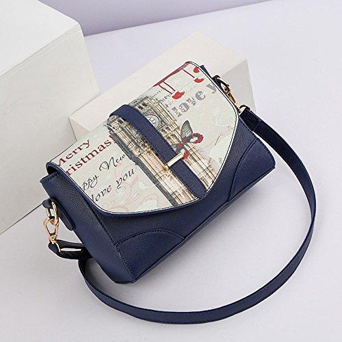 Paquete de verano, las damas moda versión coreana de la onda de la bolsa de hombro, mochila oblicua, salvaje mini personalidad bolsa ( Color : Negro ) Azul zafiro