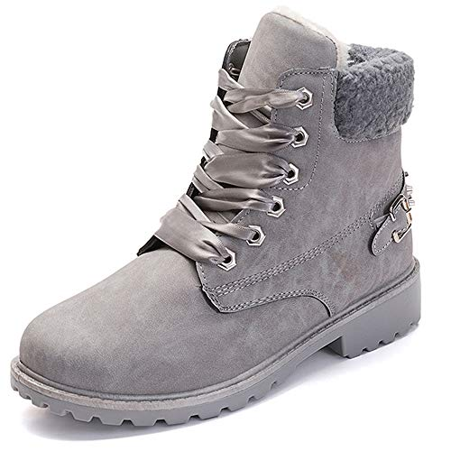 Susanny Women's Warm Snow Boots Ankle Lace up Short Combat Boot Slip on Winter Low Heel Fur Booties Grey (Pink Snowboard Boots)