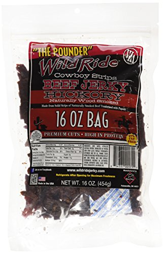 Wild Ride Beef Jerky Cowboy Strips, Hickory, 16-Ounce Bag