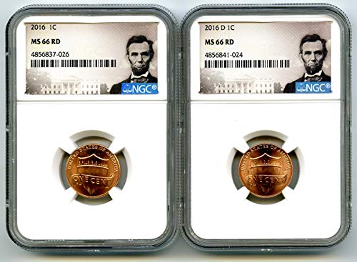 2016 P & D US MINT UNION SHIELD 2 COIN LINCOLN LABEL SET - YOU GET BOTH Cent MS66 NGC ()