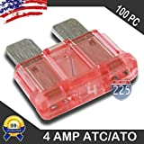 100 Pack 4 AMP ATC/ATO Standard Regular Fuse Blade 4A Car Truck Boat Marine RV