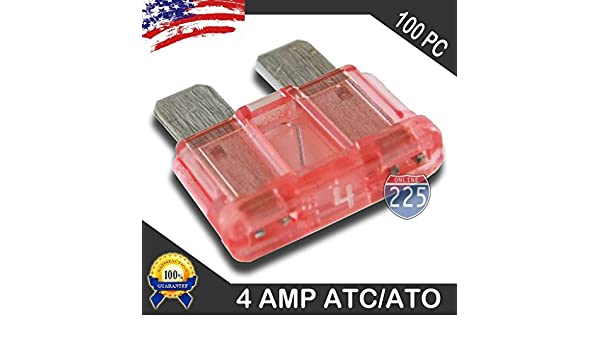 PACK ATC 4 AMP FUSES ATO FUSE BLADE STYLE CAR BOAT AUTOMOTIVE AUTO ATC4 25