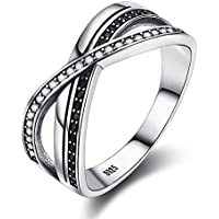 YJEdward 925 Silver Cross Black Ring Punk Cubic Zircon Jewelry Elegant Gift For Women Girl