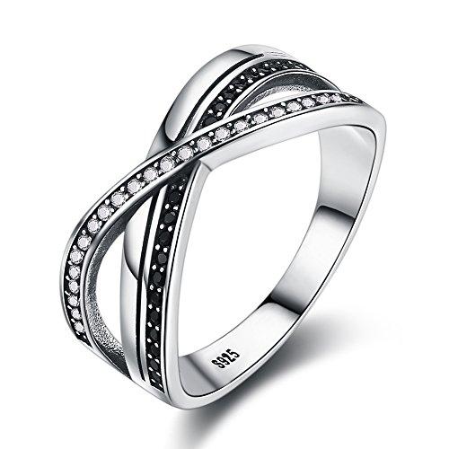 BeautySalon 8MM Black Marcasite Beaded Criss-Cross Band Ring ()