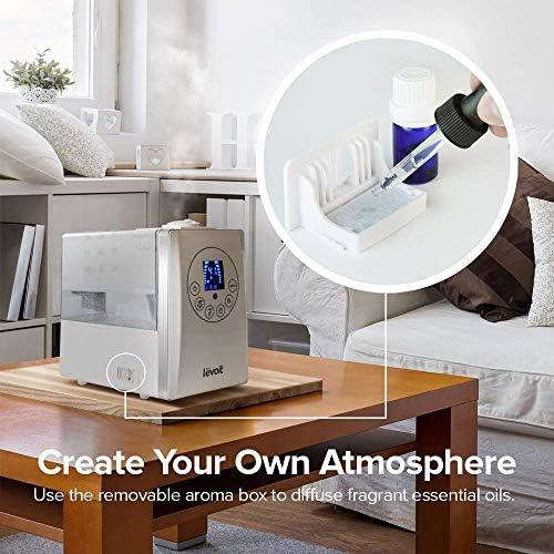 Levoit Humidificateur d'Air 6L, Humidificateur Bébé Ultrasonique Silencieux avec Télécommande,3 Niveaux de Brume,Arrêt Automatique,Minuterie 1 à 12H,Double Buse à 360°pour Maison jusqu'à 70 m²