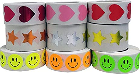 Ivenf Extra Large Fun Emoji Face Stickers, Teacher Reward Stickers for  Prizes, Kids Party