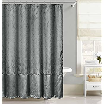Faux Silk Fabric Shower Curtain Metallic Raised Pin Dot Fishscale Design Gray