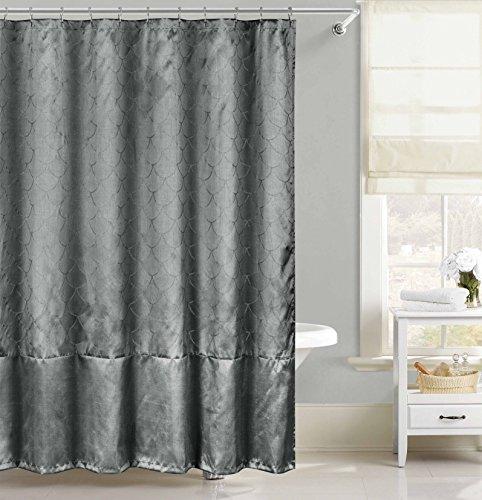Faux Silk Fabric Shower Curtain: Metallic Raised Pin Dot Fishscale Design (Gray)