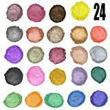 JBENG 24 Colors for Soap Coloring - Mica Powder Pigments - Soap dye - Soap Making Colorants Set - (0.1 oz 24 bags) - Candle Making, Blush, Eye Shadow, Craft Projects, Nail Art, Resin Jewelry