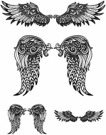 edd0007794ae5 SanerLian Waterproof Temporary Fake Tattoo Stickers Vintage Grey Angel  Wings Elegant Large Set of 5