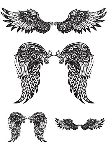Angel Wings Large Temporary Tattoo Sticker Waterproof Women Girls Back Chest Arm Fake Tattoos 15X11Cm 3Pcs