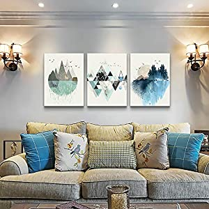 Abstract Mountain in Daytime Canvas Prints Wall Art Paintings Abstract Geometry Wall Artworks Pictures for Living Room Bedroom Decoration, 12×16 inch/piece, 3 Panels Home bathroom Wall decor posters