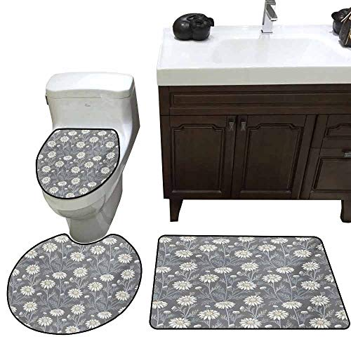 (3 Piece Toilet Cover Set Floral Cottage Daisy Petals Field Summer Gardening Theme Chamomile Flourish Elongated Toilet Lid Cover Set Grey Coconut Sage Green)