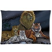 Etaovip Custom It Leopard Tiger Snow Leopard Water Waves Sky Moon Rectangular Decorative Cotton Polyester Pillow Case Cushion CoverInch Zipper Pillowcase ( 20*20 )