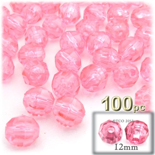 (The Crafts Outlet 100-Piece Faceted Plastic Transparent Round Beads, 12mm, Pink)
