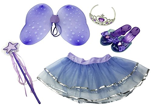 Child Tinkerbell Fairy Princess Costumes - Little Fairy Princess Dress Up Role Play Costume Set for Girls (6 Pcs)