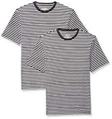 An Amazon brand - This classic loose-fit striped tee features all-cotton construction, a crew neckline and short-sleeves for comfort