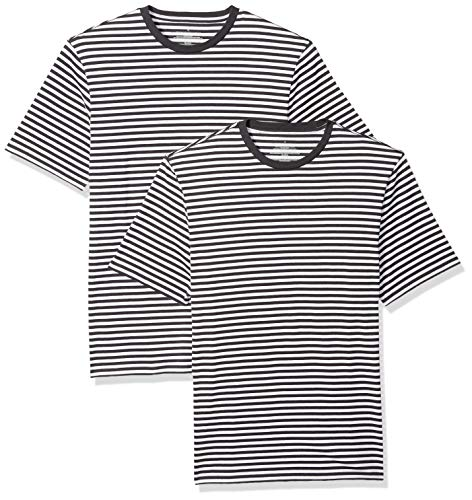 Amazon Essentials Men's Loose-Fit Short-Sleeve Stripe Crewneck T-Shirts, Black/White, XX-Large ()