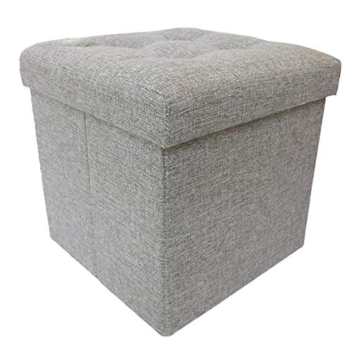 Berry Ave Storage Ottoman – Square Folding Storage Ottoman – Padded fabric Storage Stool with Lid – Comfortable Ottoman Foot Rest Stool – Measures 38 x 38 x 38 cm – Gray ()