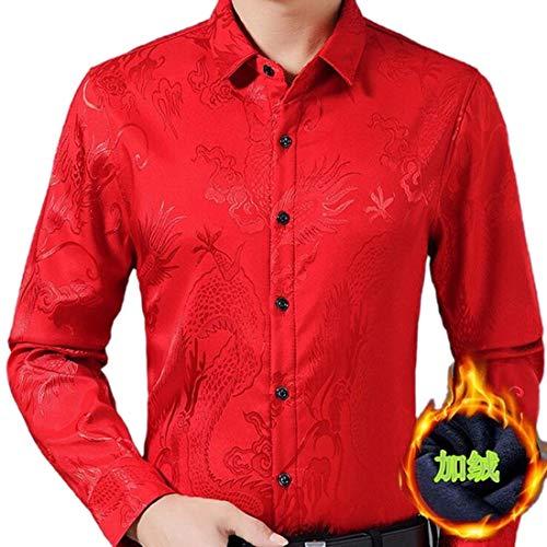 WSPLYSPJY Men Original Fit Imitated Silk Dragon Print Business Shirts 1 M