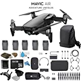 DJI Mavic Air Foldable Quadcopter Fly More Combo (Onyx Black) CP.PT.00000156.01 + + 2 DJI Intelligent Flight Battery for Mavic Air (5 Total) + Carrying Case and Much More.