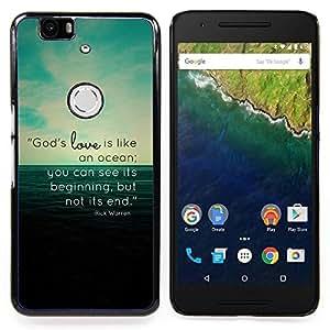 """Qstar Arte & diseño plástico duro Fundas Cover Cubre Hard Case Cover para Huawei Google Nexus 6P (EL amor de Dios es como un océano"""")"""