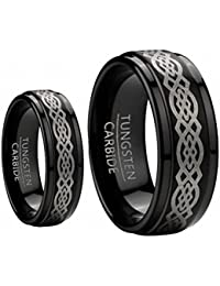 his hers 8mm 6mm black tungsten carbide wedding band ring set wlaser etched celtic design sizes 5 15 including half sizes please e mail sizes - Tungsten Wedding Ring Sets