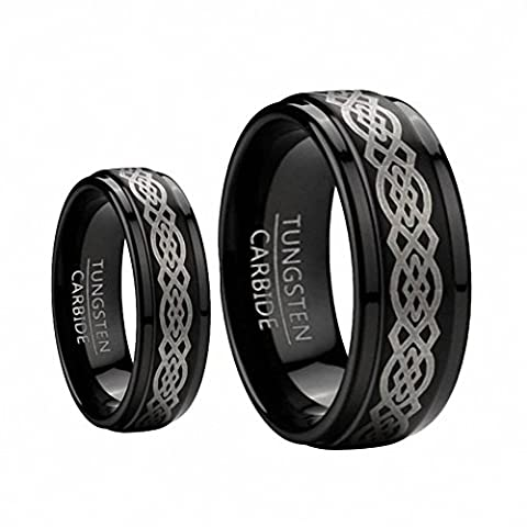 His & Her's 8MM & 6MM Black Tungsten Carbide Wedding Band Ring Set w/Laser Etched Celtic Design , Sizes 5-15 Including Half Sizes. , Ladies Size 5 - Mens Size (His And Her Rings Tungsten)