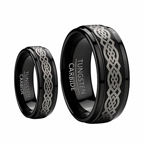 His & Her's 8MM & 6MM Black Tungsten Carbide Wedding Band Ring Set Etched Celtic Design