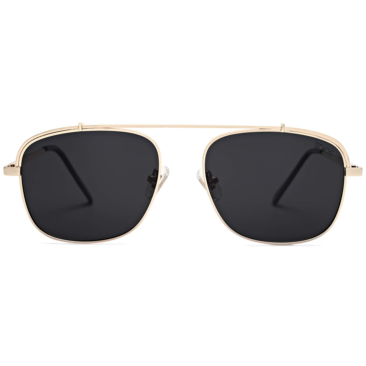 SOJOS Polarized Square Aviator Sunglasses with Spring Hinge Mirrored Lens SJ1118 with Gold Frame/Grey Polarized Lens by SOJOS