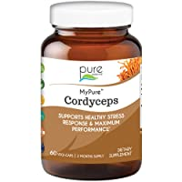 Pure Essence Labs MyPure Cordyceps - Organic Mushroom Supplement - 100% Real Mushroom Extract - Best for Immune Support, Stress Relief, Build Energy for Adult Men and Women (60 Capsules)