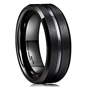 King Will Classic Men Black Tungsten Carbide 8mm Polished Matte Brushed Finish Center Wedding Band Ring