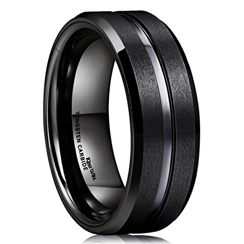 - King Will Classic 8mm Black Tungsten Carbide Wedding Band Ring Polished Finish Grooved Center Comfort Fit (5.5)