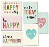 Encouragement Greeting Cards - 36 Pack All Occasion Bulk Box Set Assorted Blank Note Cards - 6 Pastel Colored Happy Heart Designs - Blank on the Inside Notecards with Envelopes Included - 4 x 6 Inches