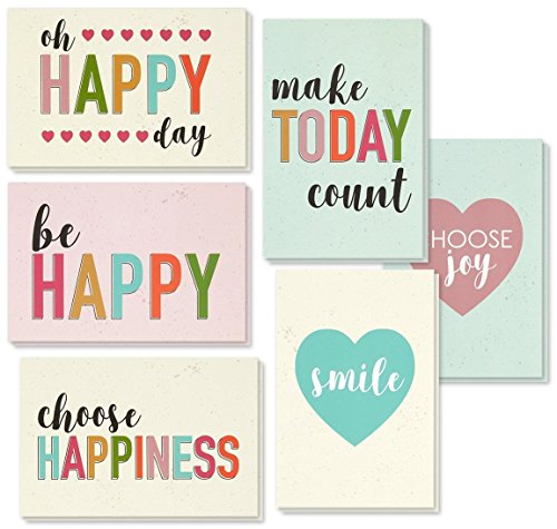 Encouragement Greeting Cards - 36 Pack All Occasion Bulk Box Set Assorted Blank Note Cards - 6 Pastel Colored Happy Heart Designs - Blank on the Inside Notecards with Envelopes Included - 4 x 6 Inches by Best Paper Greetings