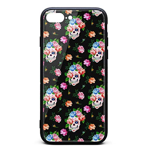 Nisen Suger Skull and Rose iPhone case for iPhone 7/8 Plus Design for Girls Men Women TPU Frame Protective for Men Women Cover Shockproof Bumper Anti-Drop PC Frame for 5.5