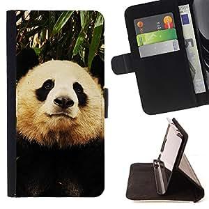 Devil Case- Estilo PU billetera de cuero del soporte del tir¨®n [solapa de cierre] Cubierta FOR Samsung Galaxy S4 Mini i9190 I9192- Panda Cute Face
