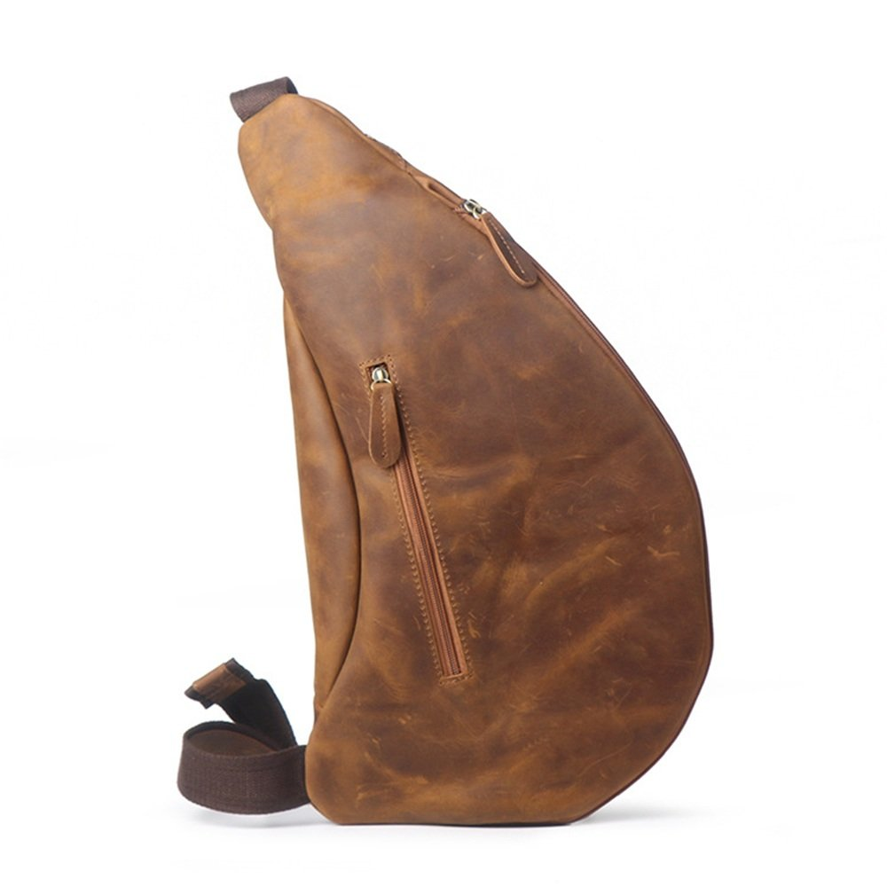 Color : Dark Coffee Color Retro Casual Mens Chest Bag Zipper Leather Messenger Bag Shoulder Bag