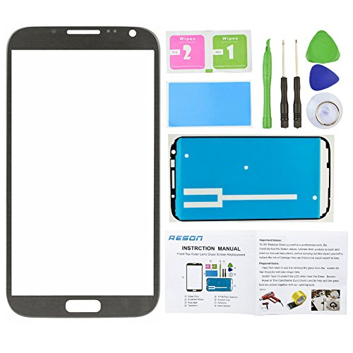 Price comparison product image Reson® Titanium Grey Replacement Screen Glass Lens for Samsung Galaxy Note 2 Ii N7100 I317 L900 I605 T889+tools Kit+dry/wet/dust Cleaning Paper+adhesive Sticker Tape