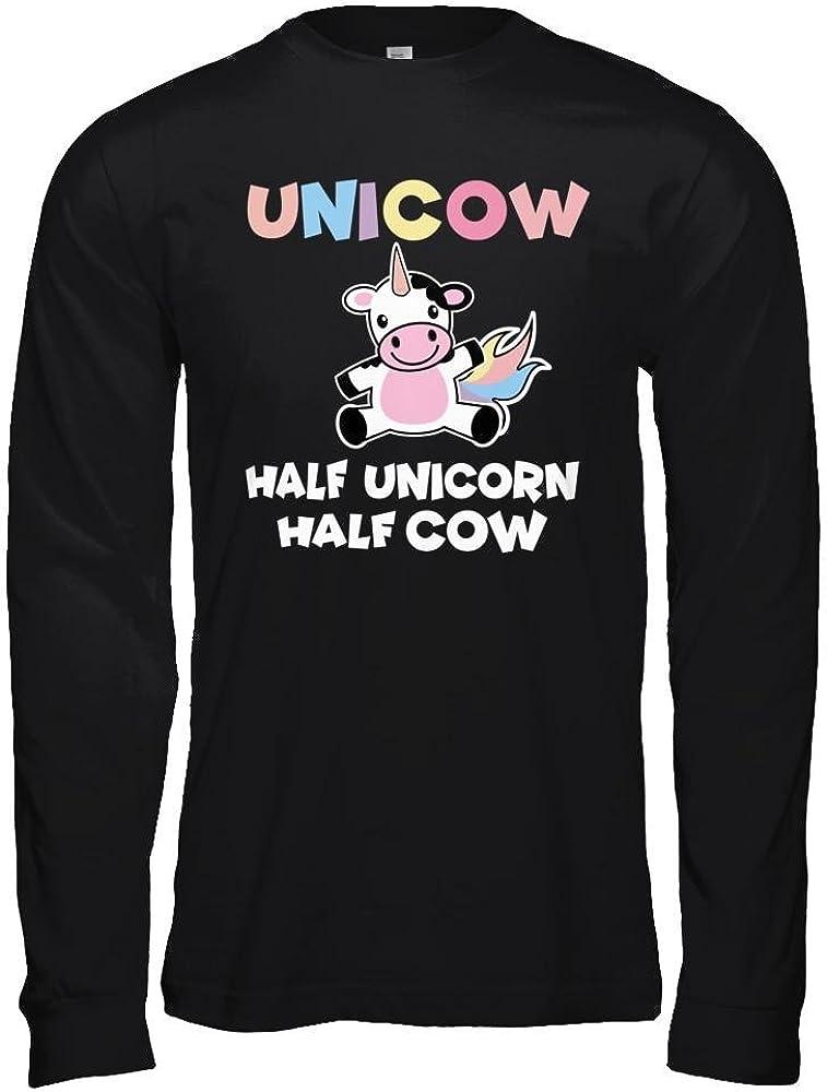 Teely Shop Womens Unicow Funny Pet Funny Unicorn Cow Birthday Bella Canvas Unisex Jersey Long Sleeve Tee