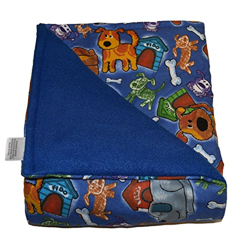 SENSORY GOODS Child Small Weighted Blanket Made in America - 4lb Low Pressure - Fido Pattern/Blue - Fleece/Flannel (48'' x 30'') Provides Comfort and Relaxation.